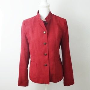 ❄ Dressbarn : Red Faux Suede Military Jacket
